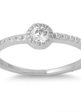 Sterling Silver Fine Stackable w Clear CZ Ring 8