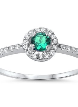 Sterling Silver Halo Emerald & Clear CZ Ring 5