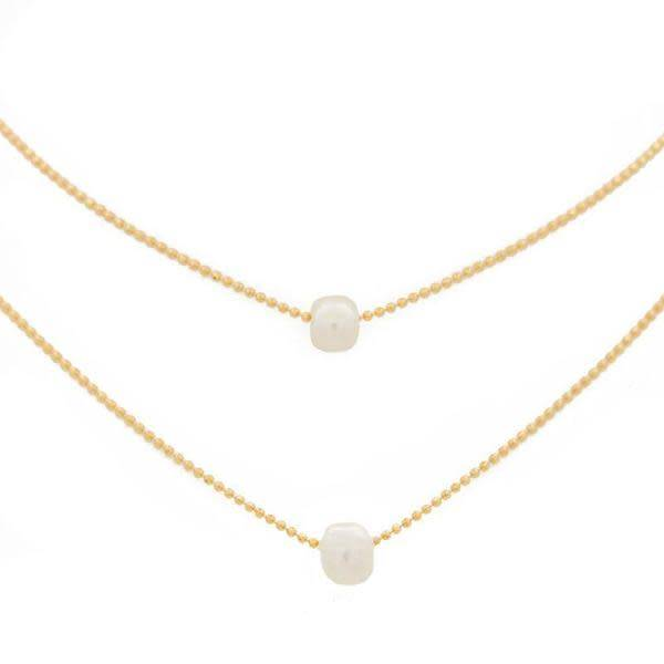 "15-17"" Layered Pearl Gold Necklace"