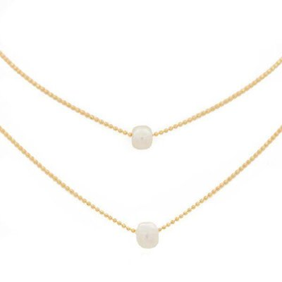 """Lenny & Eva 15-17"""" Layered Pearl Gold Necklace"""
