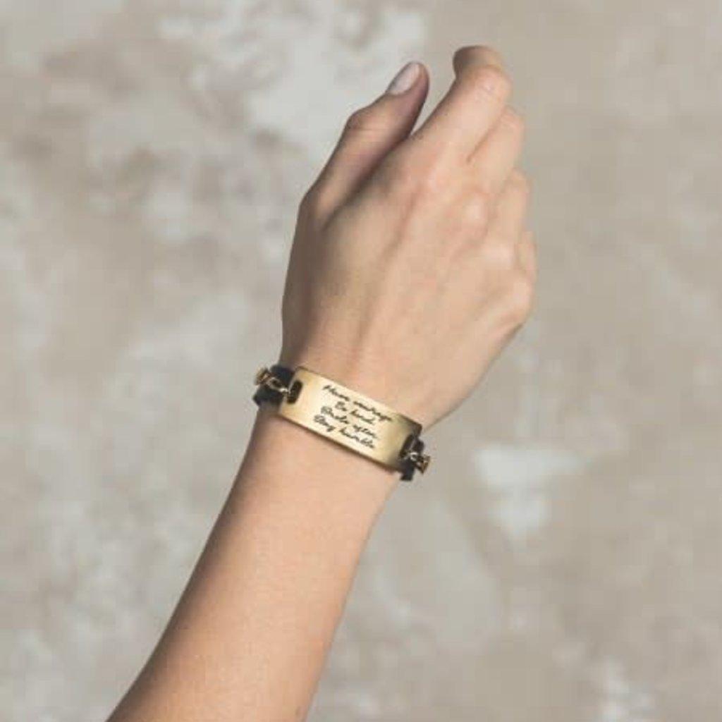 Lenny & Eva Dove Gray Leather Cuff Bracelet with Gold Finish