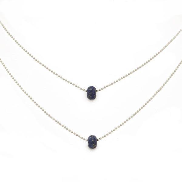 "15-17"" Layered Lapis Lazuli Silver Necklace"