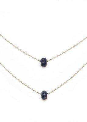 "Lenny & Eva 15-17"" Layered Lapis Lazuli Silver Necklace"