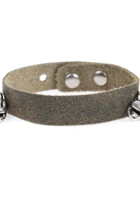 Lenny & Eva Olive Leather Cuff Bracelet with Silver Finish