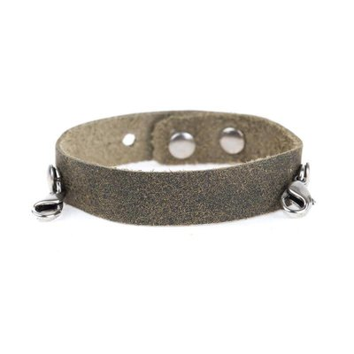 Lenny & Eva Olive Leather Cuff Bracelet with Silver Finish