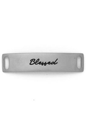 Lenny & Eva Silver Engraved Blessed Sentiment