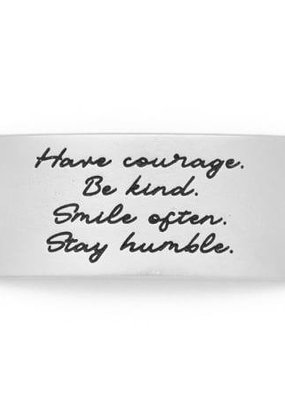 Lenny & Eva Silver Engraved Have Courage Be Kind Sentiment