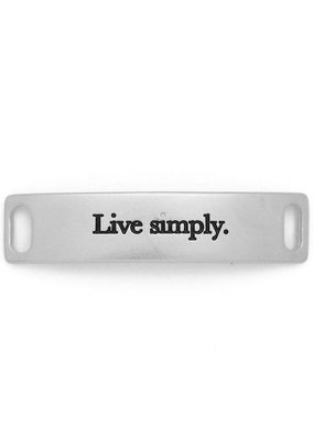 Lenny & Eva Silver Engraved Live Simply Sentiment