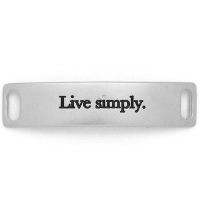 Lenny & Eva Silver Engraved Live Simply Sentiment