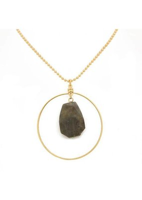 Lenny & Eva Labradorite Gold Focal Necklace