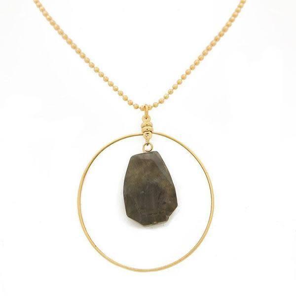 """36"""" Labradorite Gold Focal Necklace"""