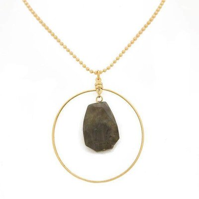 "Lenny & Eva 36"" Labradorite Gold Focal Necklace"