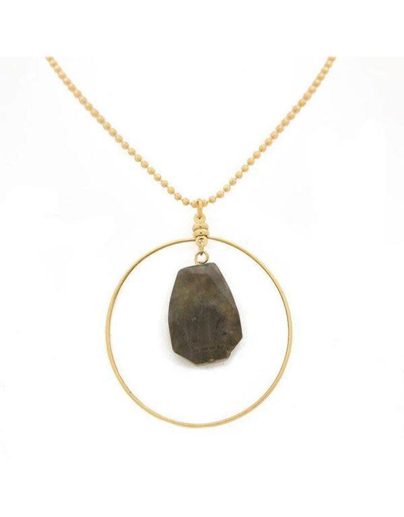 Lenny & Eva Labradorite Gold Focal Necklace