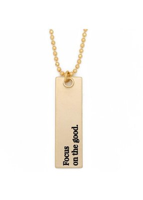 Lenny & Eva Focus on the Good Gold Bar Pendant Necklace