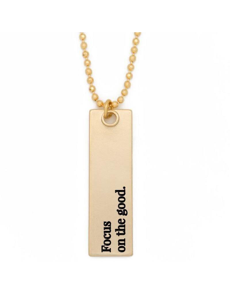 Lenny & Eva Focus on the Good Gold Bar Pendant Necklace