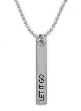 """24"""" Let it Go Silver Bar Pendant Necklace"""
