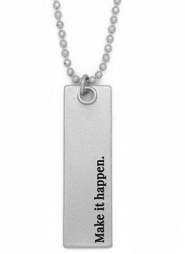 """36"""" Make it Happen Silver Bar Pendant Necklace"""