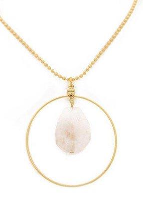 "36"" Rose Quartz Gold Focal Necklace"