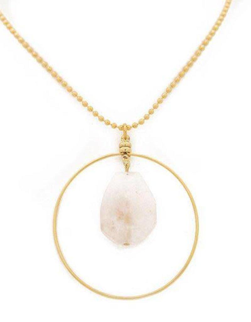 """Lenny & Eva 36"""" Rose Quartz Gold Focal Necklace"""