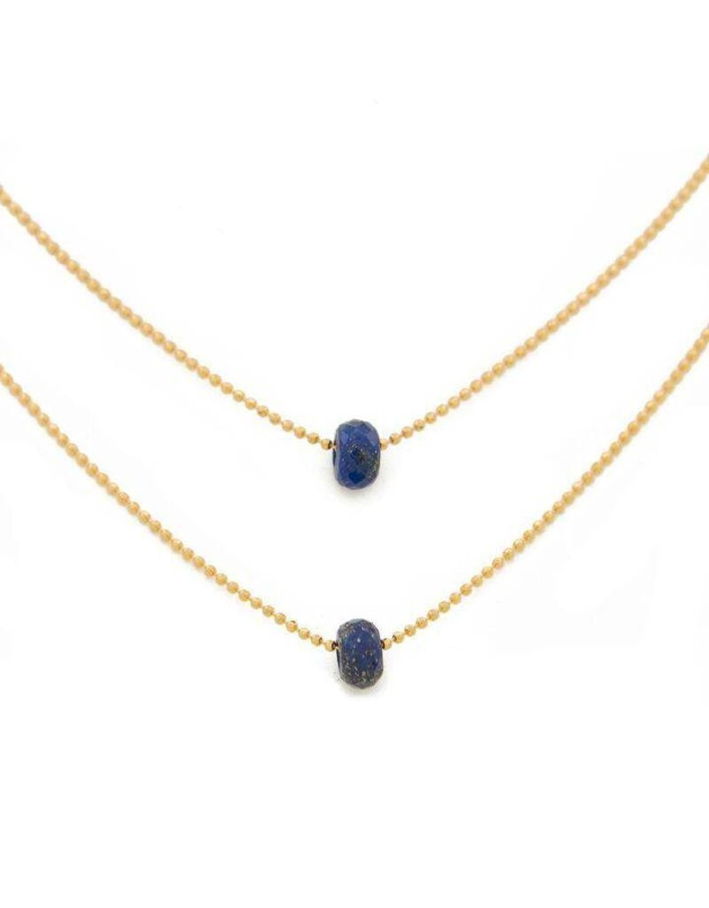 """Lenny & Eva 15-17"""" Layered Lapis Lazuli Gold Necklace"""