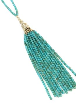 Beaded Tassel Pendant Necklace Turquoise