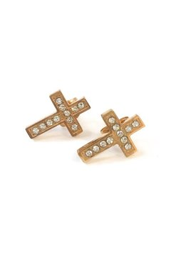 Stainless Steel Rose Gold Cross with Cubic Zirconia