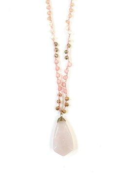 Semi Precious Pink Pendant on a Beaded Crochet Chain