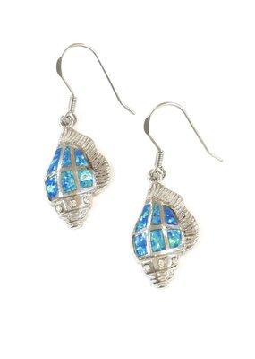 Qualita In Argento Italian Sterling Silver Blue Opal Shell Earrings