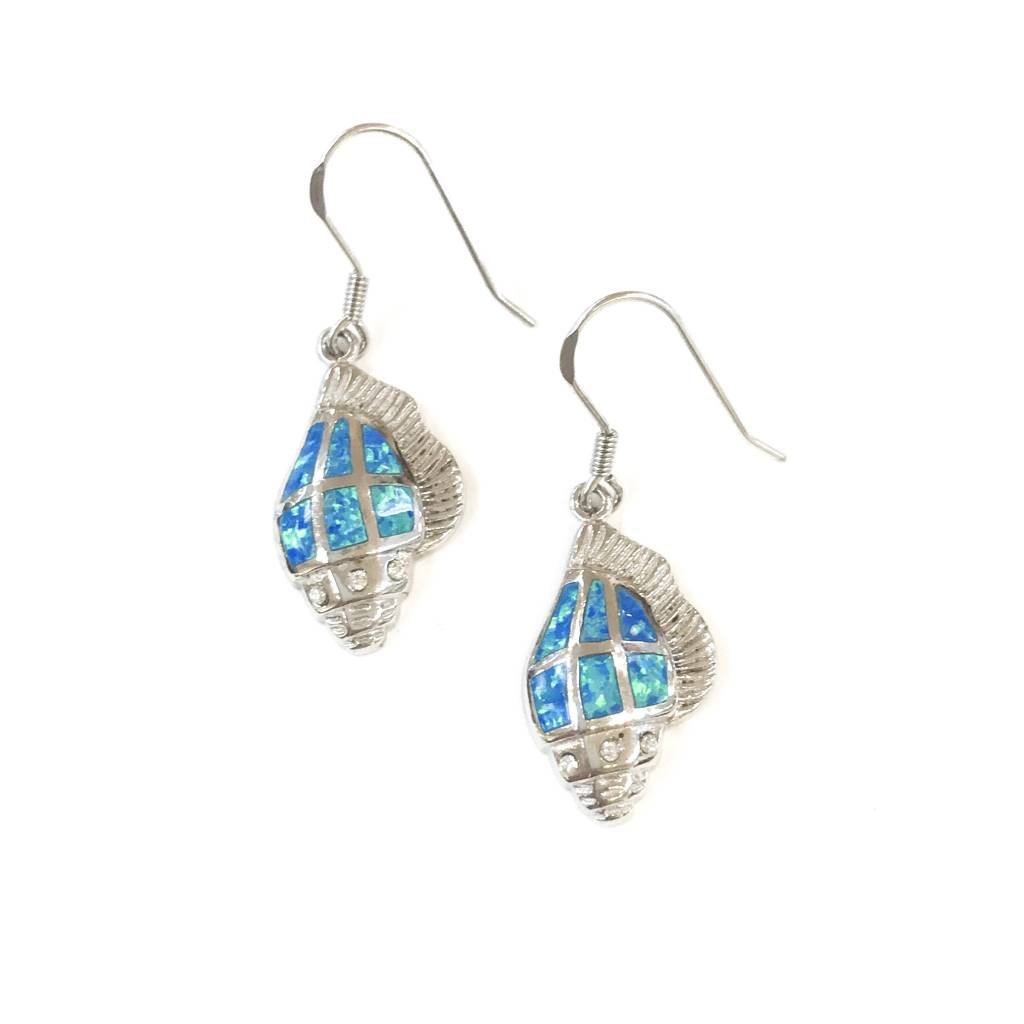 Qualita in Argento Italian Sterling Silver Blue Opal Shell Earrings