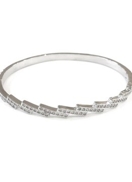 Silver Cubic Zirconia Bangle Bracelet
