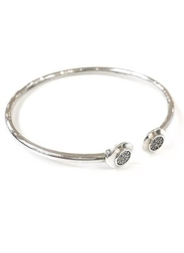 Sterling Silver Bangle Bracelet with Cubic Zirconia