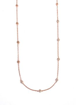 Sterling Silver Rose Gold Bezel Set Cubic Zirconia Necklace