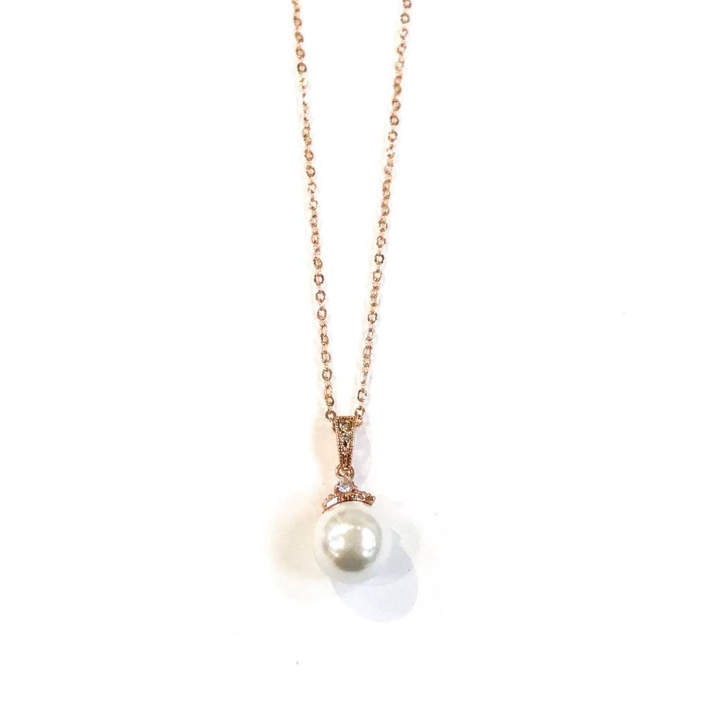 RG Pearl CZ Necklace