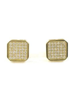 Qualita in Argento Italian Sterling Silver Gold Stud Earrings
