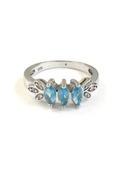 Italian Sterling Silver Blue CZ Ring Size 6