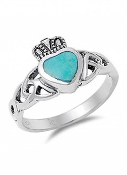 Sterling Silver Celtic Knot Turquoise Claddagh Ring SZ6