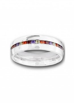 Stainless Steel Ring with Mixed CZ