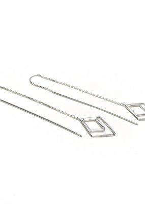 Qualita In Argento Italian Sterling Silver Diamond Shaped Threader Earrings