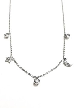 Italian Sterling Moon and Star Necklace