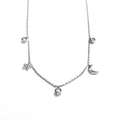 Qualita In Argento Italian Sterling Moon and Star Necklace