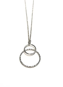 Italian Sterling Double Circle Necklace