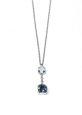 Italian Sterling Indian Sapphire and White Alabaster Swarovski Necklace