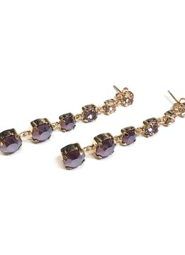 Italian Sterling Rose Gold Smoked Topaz and Champagne Swarovski Crystal Earrings