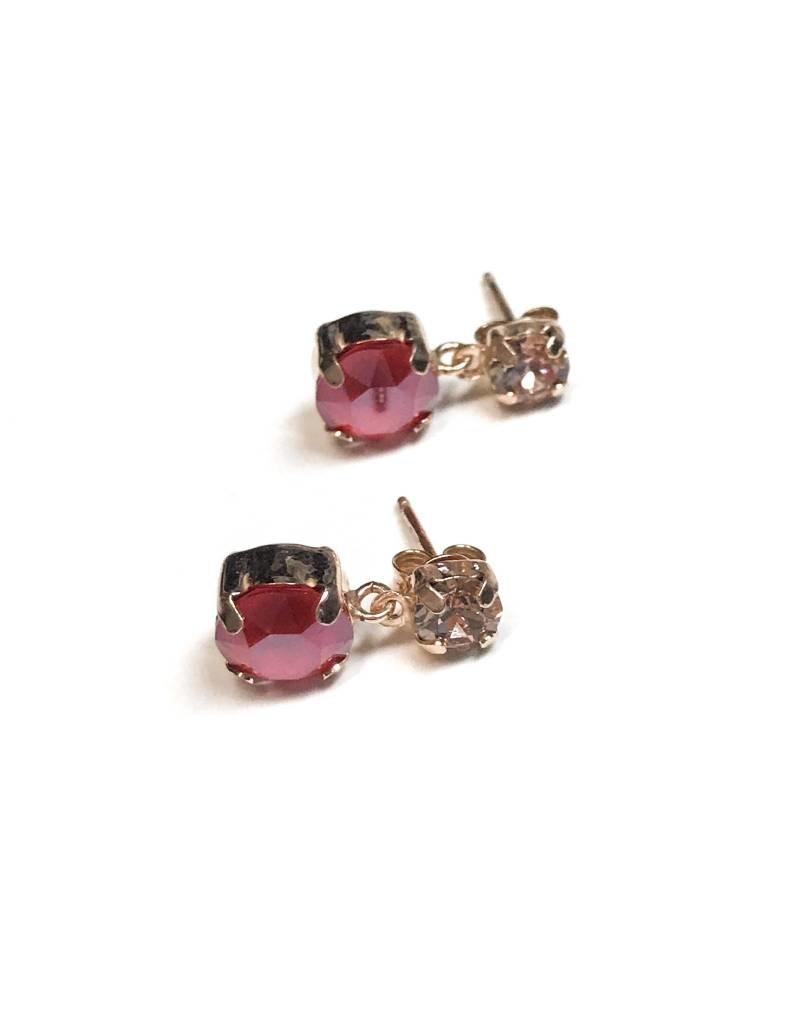 Qualita In Argento Italian Sterling Rose Gold Rose and Light Siam Swarovski Crystal Studs