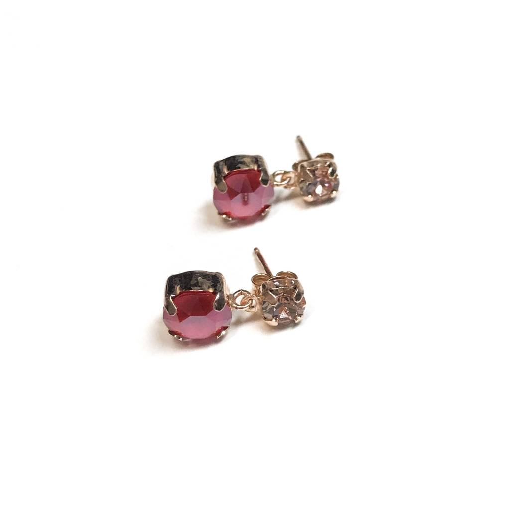 Italian Sterling Rose Gold Rose and Light Siam Swarovski Crystal Studs