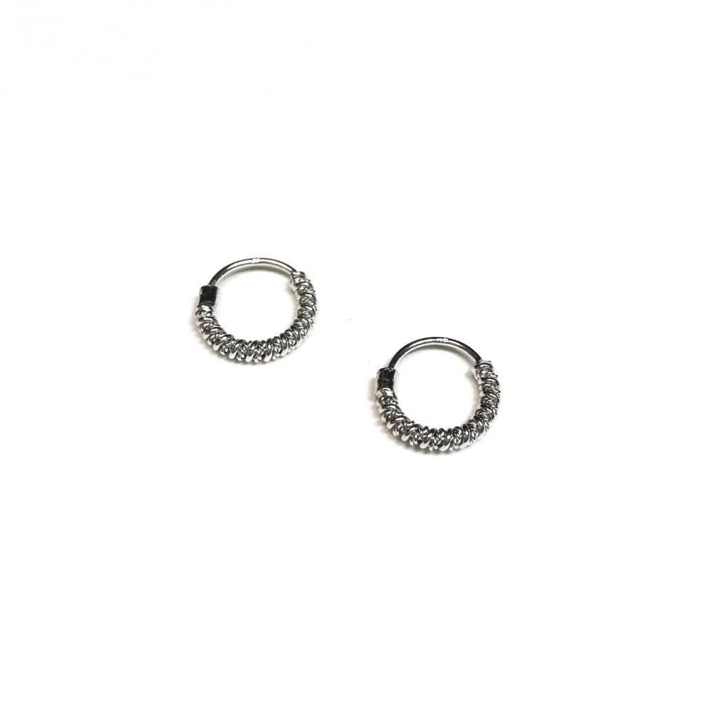 Qualita In Argento Italian Sterling Silver Spiral Tiny Hoops