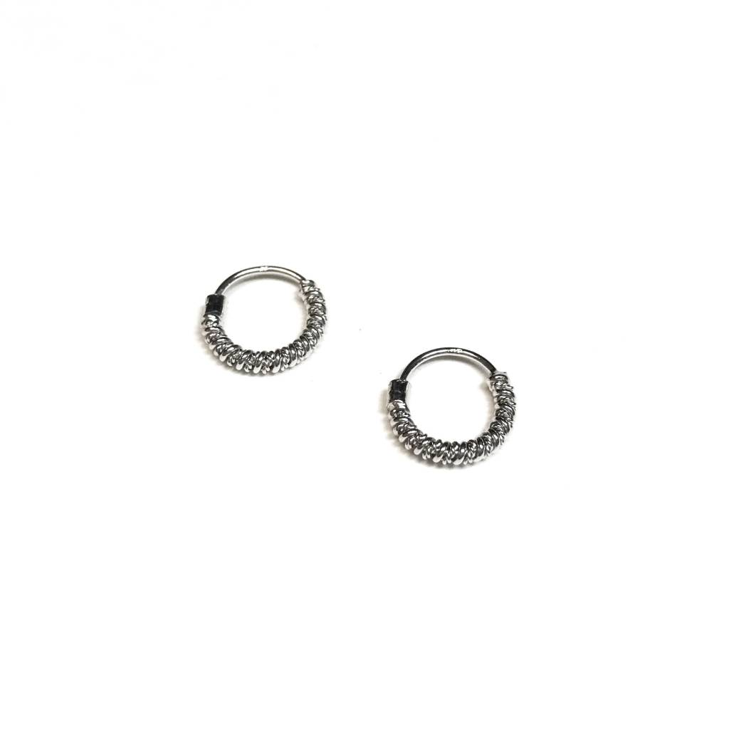 Italian Sterling Silver Spiral Tiny Hoops