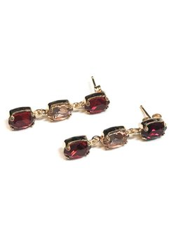 Italian Sterling Rose Gold Siam and Champagne Swarovski Crystal Earrings
