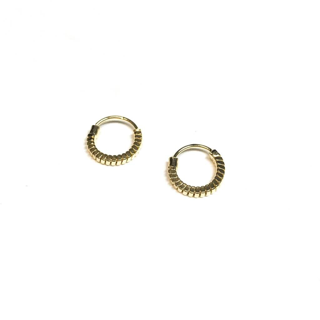 Qualita In Argento Italian Sterling Gold Spiral Tiny Hoops