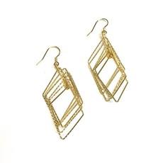 Qualita In Argento Italian Sterling Gold Diamond Shaped Motion Earrings
